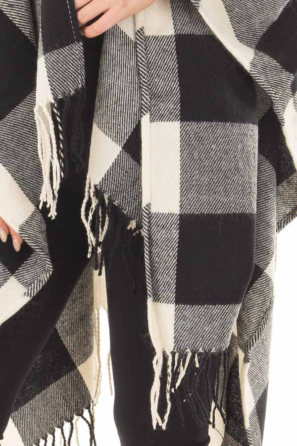 Black and White Plaid Shawl with Fringe Detail front detail
