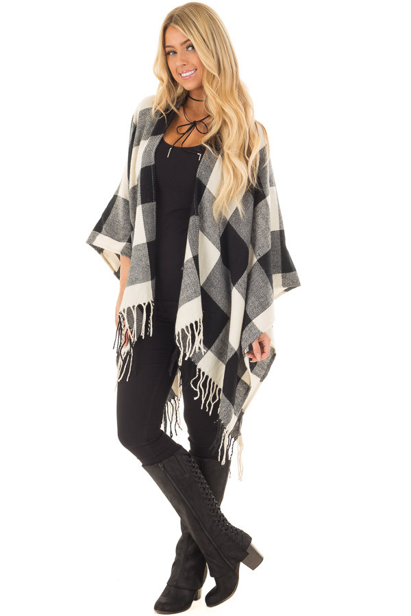 Black and White Plaid Shawl with Fringe Detail front full body
