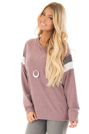 Mauve Soft Sweater with Striped Dolman Long Sleeves front closeup