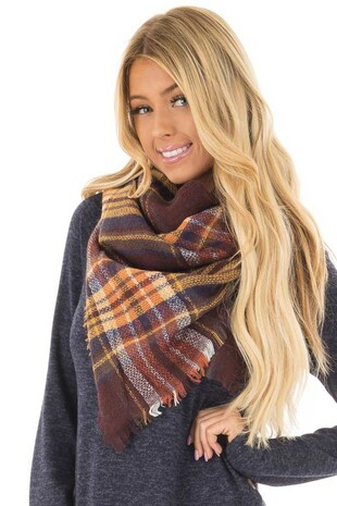 Mocha Plaid Blanket Scarf with Fringe Detail front closeup