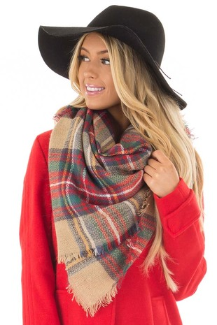 Red and Green Plaid Blanket Scarf with Fringe Detail front closeup
