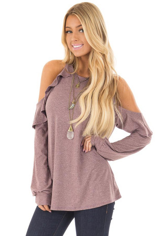 Wine Long Sleeve Cold Shoulder Ruffle Top front closeup