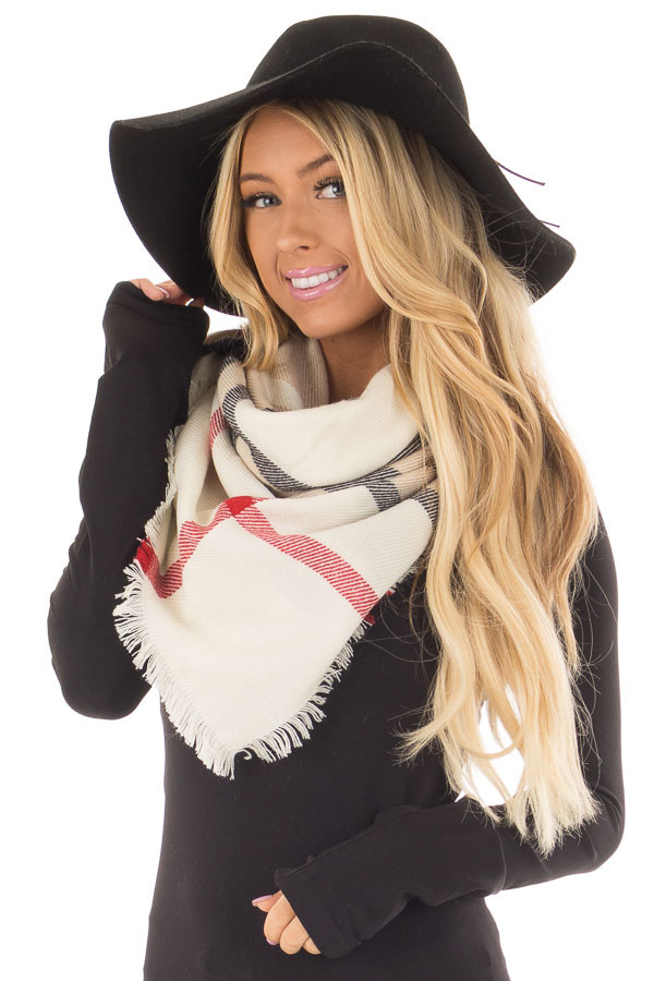 Ivory Plaid Blanket Scarf with Fringe Detail front closeup