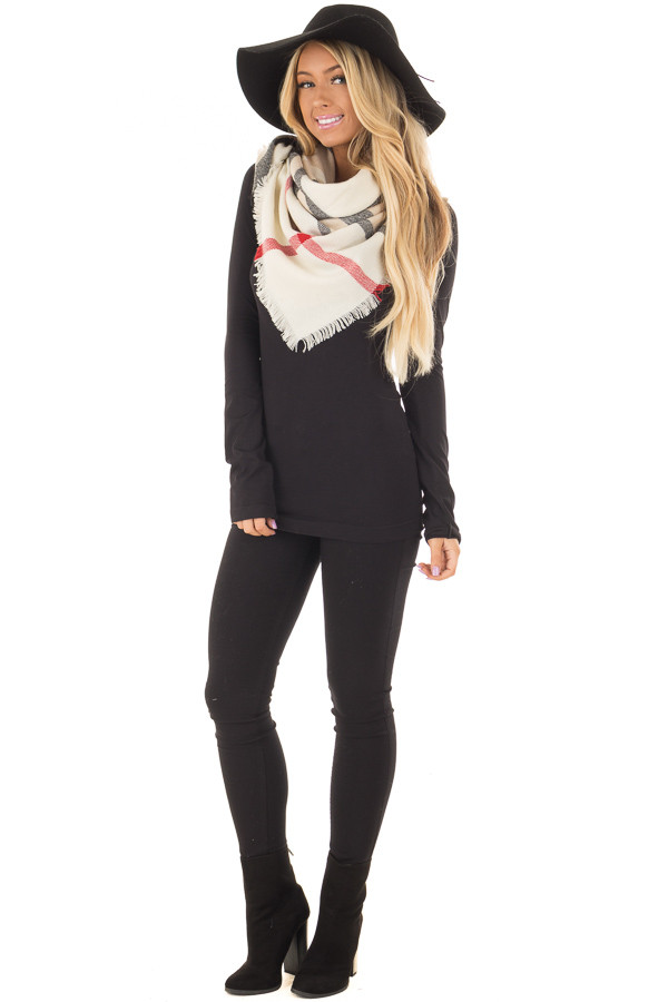 Ivory Plaid Blanket Scarf with Fringe Detail front full body