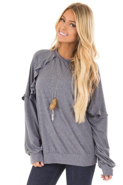 Navy Long Sleeve Top with Ruffle Detail front closeup