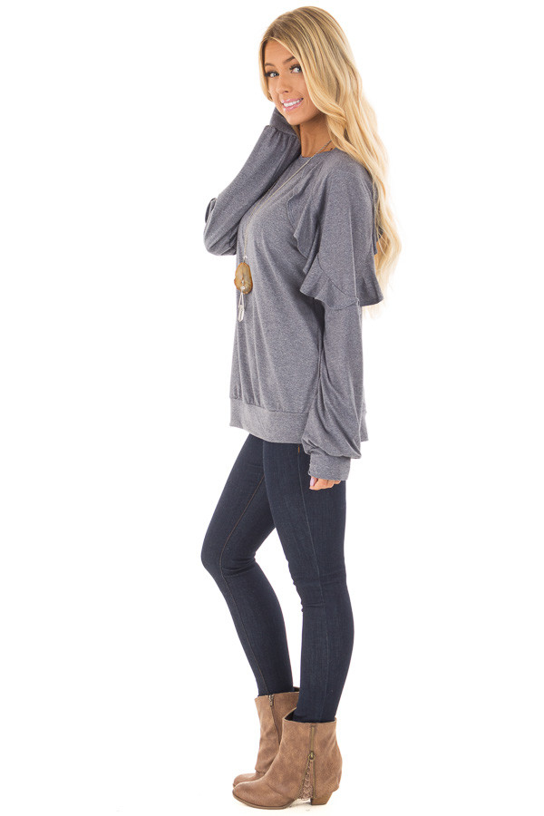 Navy Long Sleeve Top with Ruffle Detail side full body