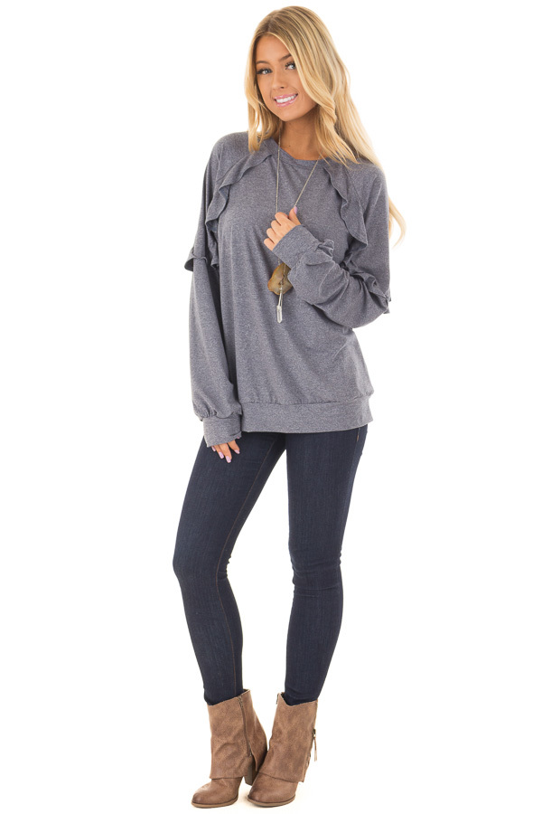 Navy Long Sleeve Top with Ruffle Detail front full body