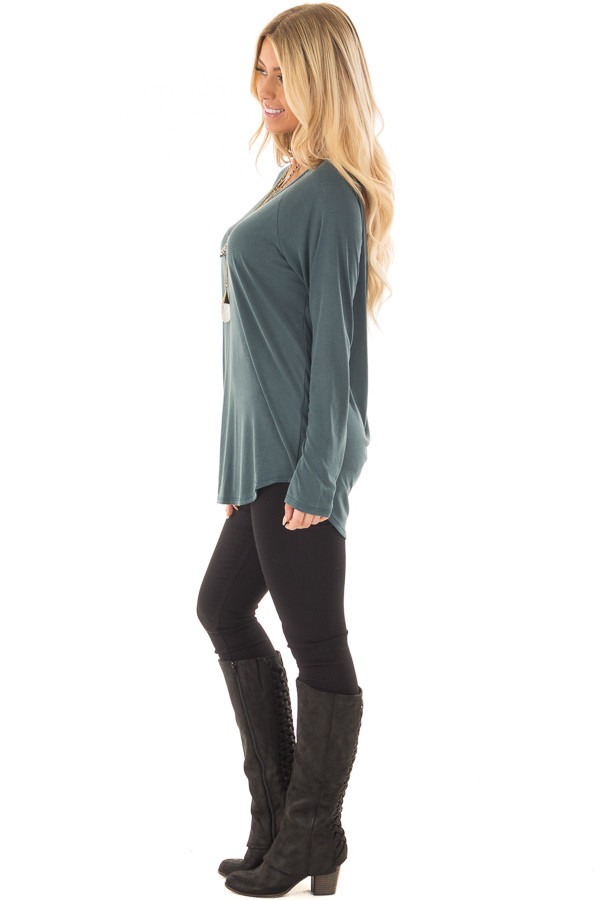 Hunter Green Hi Low Open Back Top with Strap Detail side full body
