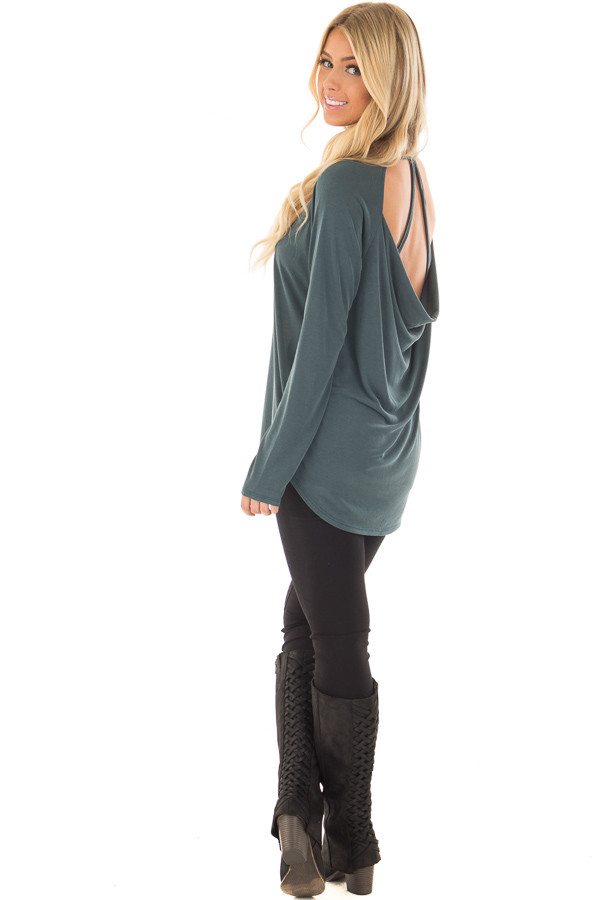 Hunter Green Hi Low Open Back Top with Strap Detail over the shoulder full body