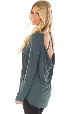 Hunter Green Hi Low Open Back Top with Strap Detail over the shoulder closeup