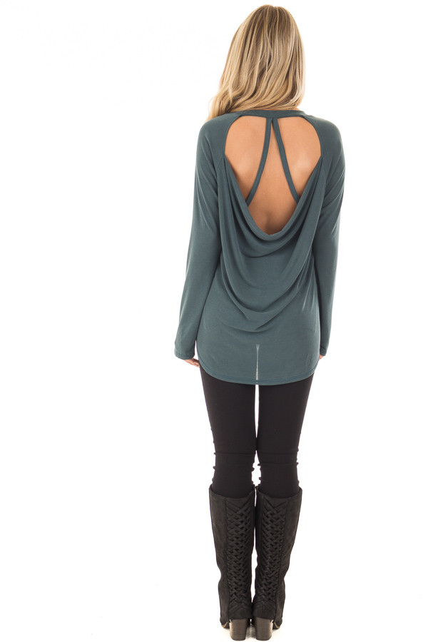 Hunter Green Hi Low Open Back Top with Strap Detail back full body