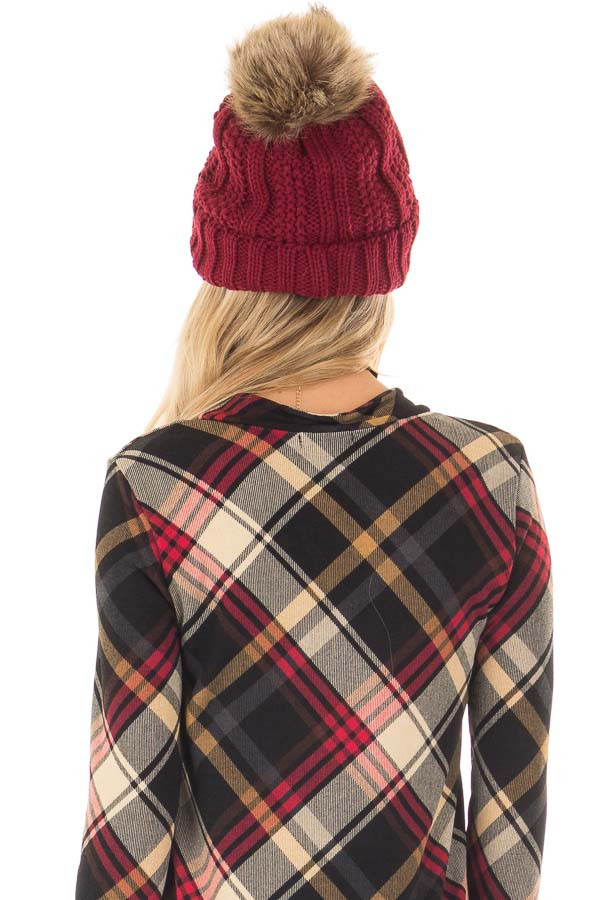 Burgundy Cable Knit Beanie with Two Tone Pom Pom back