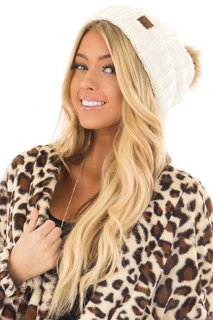 Ivory Cable Knit Beanie with Two Tone Pom Pom front