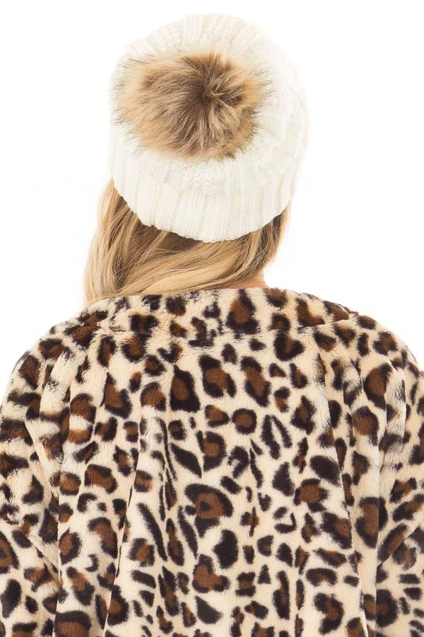 Ivory Cable Knit Beanie with Two Tone Pom Pom back