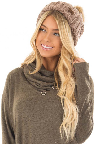 Mocha Cable Knit Beanie with Two Tone Pom Pom front
