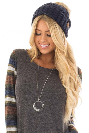 Navy Cable Knit Beanie with Two Tone Pom Pom front