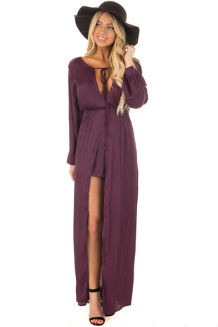 Plum Long Sleeve Satin Maxi Romper with Skirt front full body