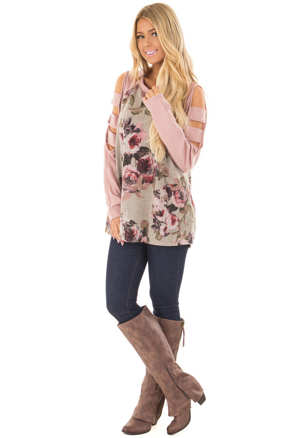 Heather Grey Floral Cold Shoulder Top with Strap Details front full body