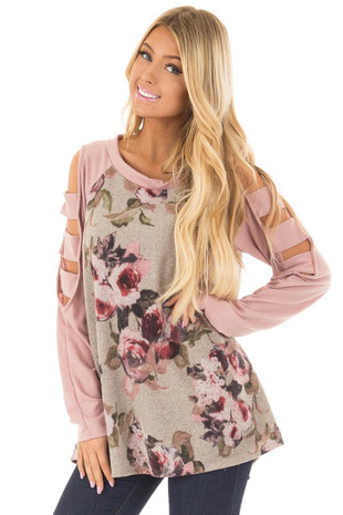 Heather Grey Floral Cold Shoulder Top with Strap Details front closeup