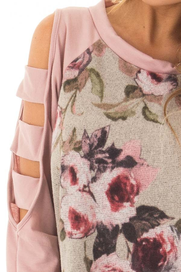 Heather Grey Floral Cold Shoulder Top with Strap Details front detail