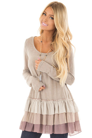 Taupe Long Sleeve Top with Layered Ruffle Contrast Hemline front closeup