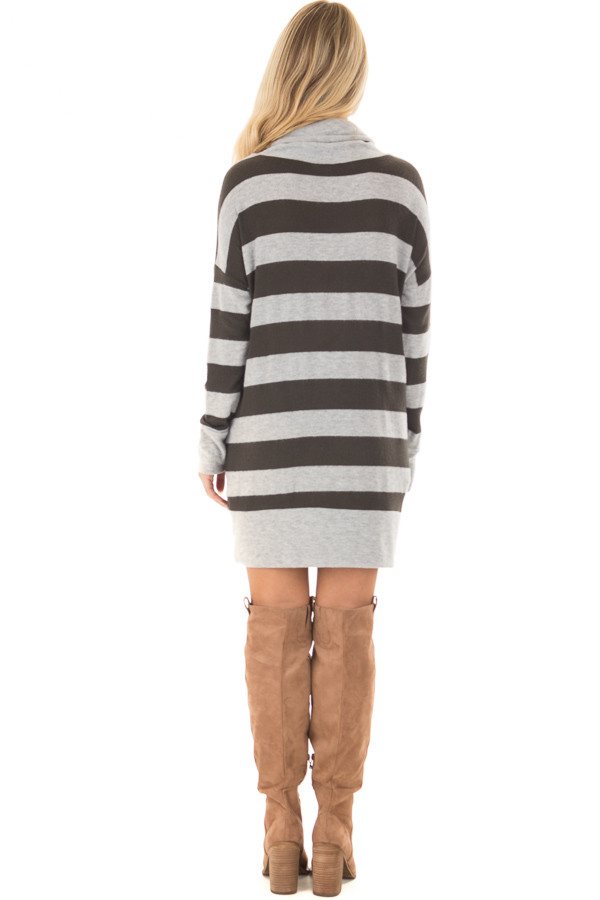Olive and Heather Grey Long Sleeve Dress with Cowl Neck back full body