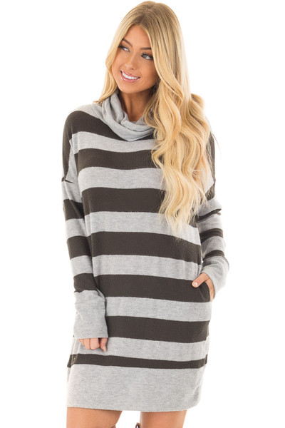 Olive and Heather Grey Long Sleeve Dress with Cowl Neck front close up