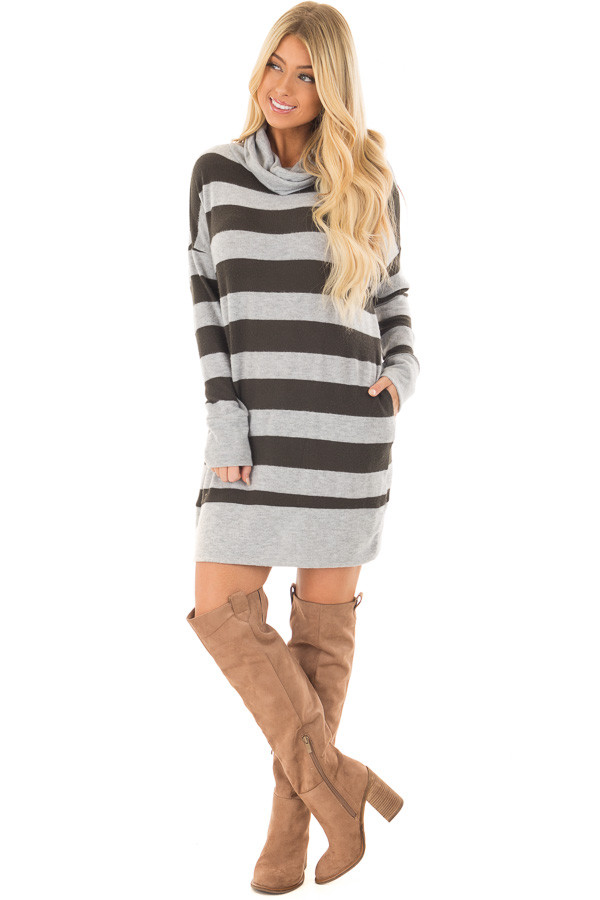 Olive and Heather Grey Long Sleeve Dress with Cowl Neck front full body