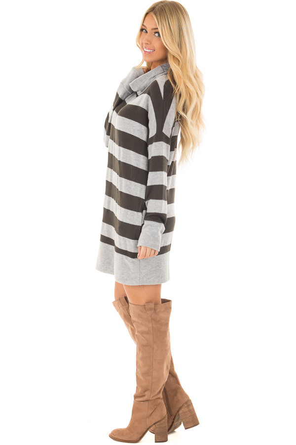 Olive and Heather Grey Long Sleeve Dress with Cowl Neck side full body