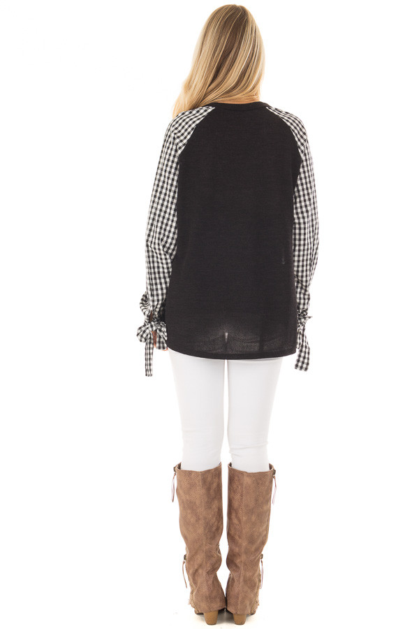 Black Top with Checkered Long Sleeves back full body