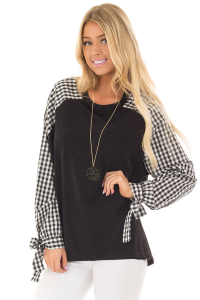 Black Top with Checkered Long Sleeves front close up