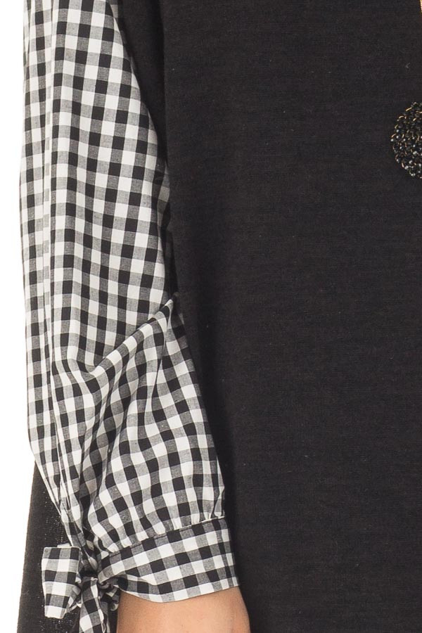Black Top with Checkered Long Sleeves detail