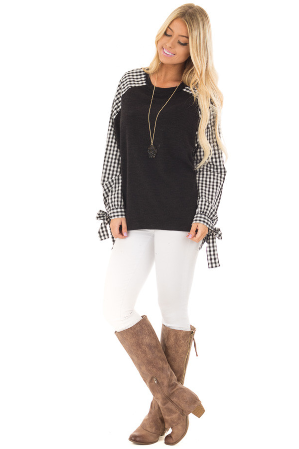 Black Top with Checkered Long Sleeves front full body