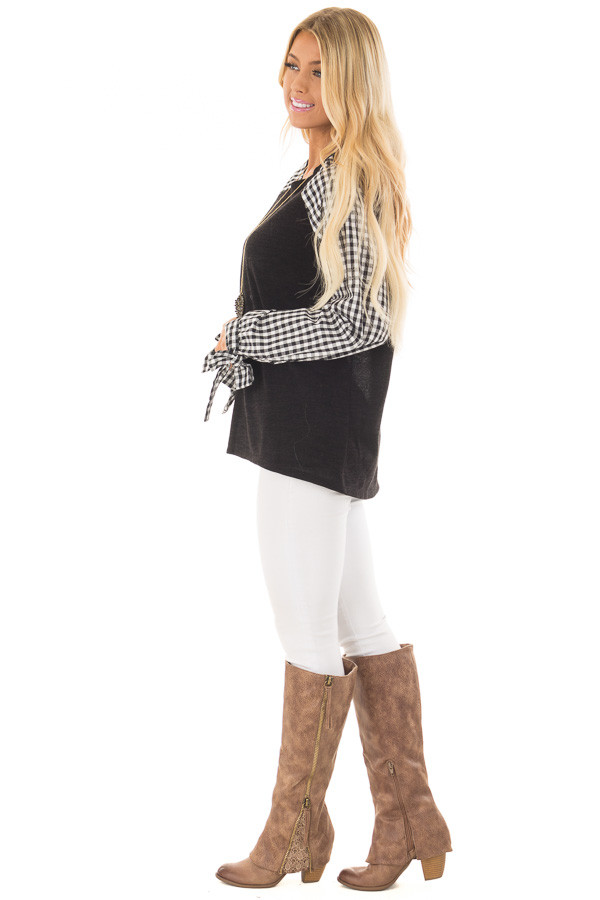 Black Top with Checkered Long Sleeves side full body