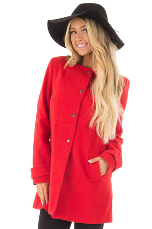 Lipstick Red Button Up Petticoat with Pockets front closeup
