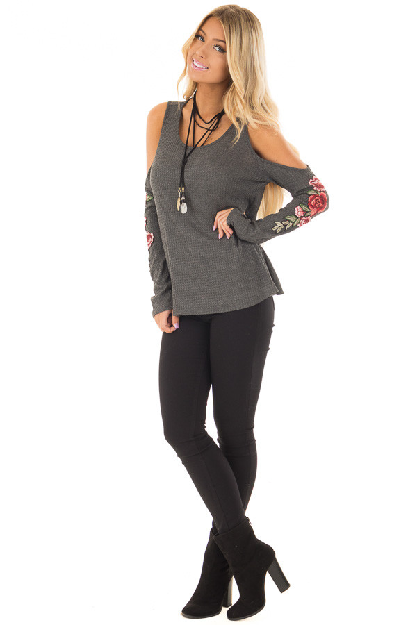 Charcoal Long Sleeve Cold Shoulder Embroidered Top front full body