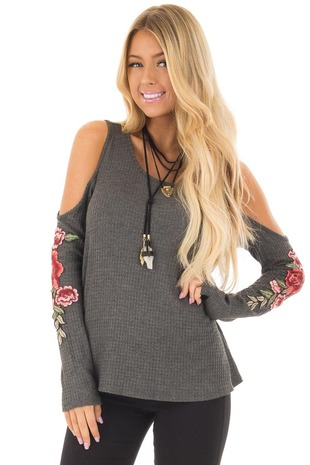 Charcoal Long Sleeve Cold Shoulder Embroidered Top front closeup