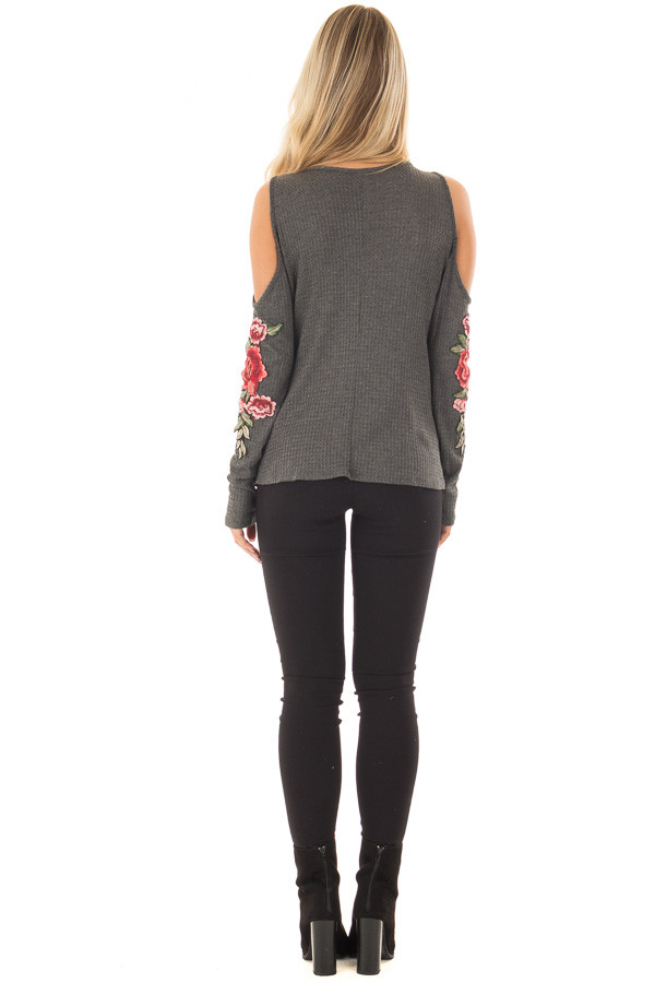 Charcoal Long Sleeve Cold Shoulder Embroidered Top back full body