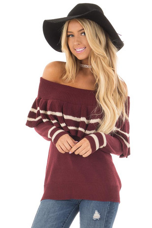 Wine Off the Shoulder Sweater with Ruffle Detail front close up