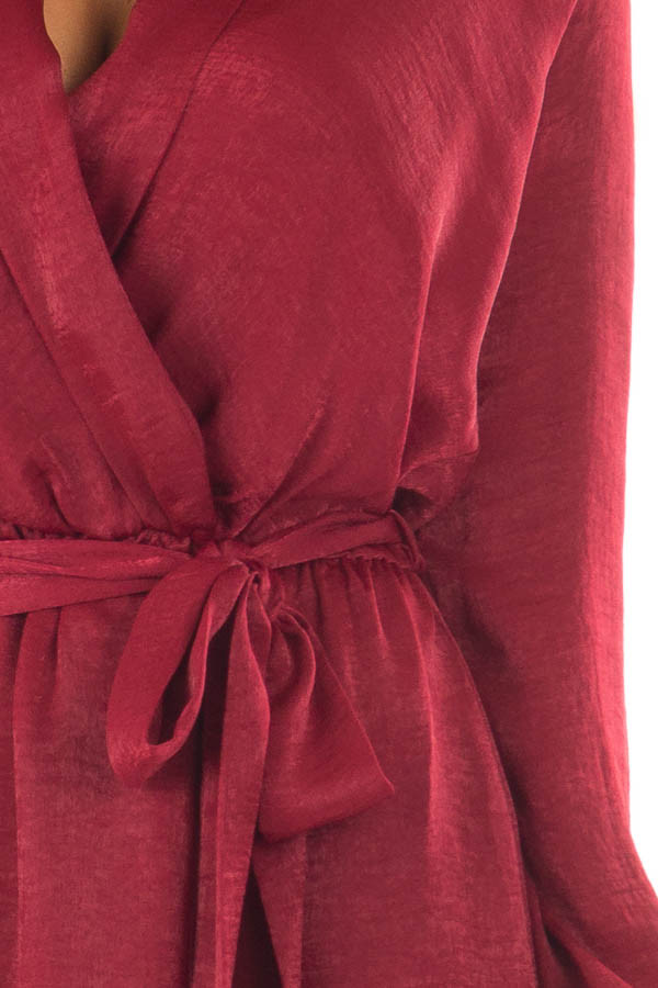 Burgundy Silky Long Sleeve Wrap Dress with Tie front detail