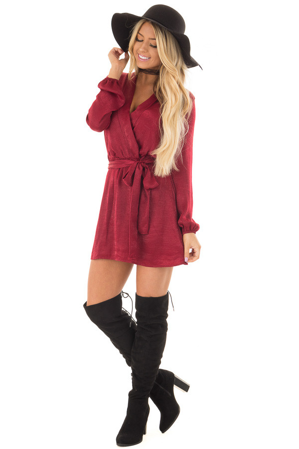Burgundy Silky Long Sleeve Wrap Dress with Tie front full body