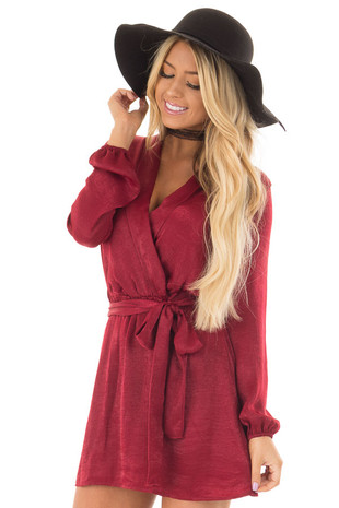 Burgundy Silky Long Sleeve Wrap Dress with Tie front closeup