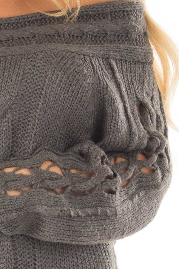 Charcoal Off the Shoulder Sweater with Sleeve Cutout Detail front detail