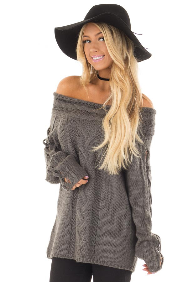 Charcoal Off the Shoulder Sweater with Sleeve Cutout Detail front closeup