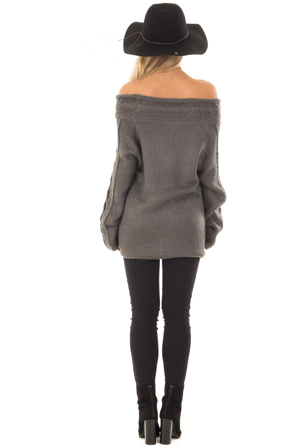 Charcoal Off the Shoulder Sweater with Sleeve Cutout Detail back full body