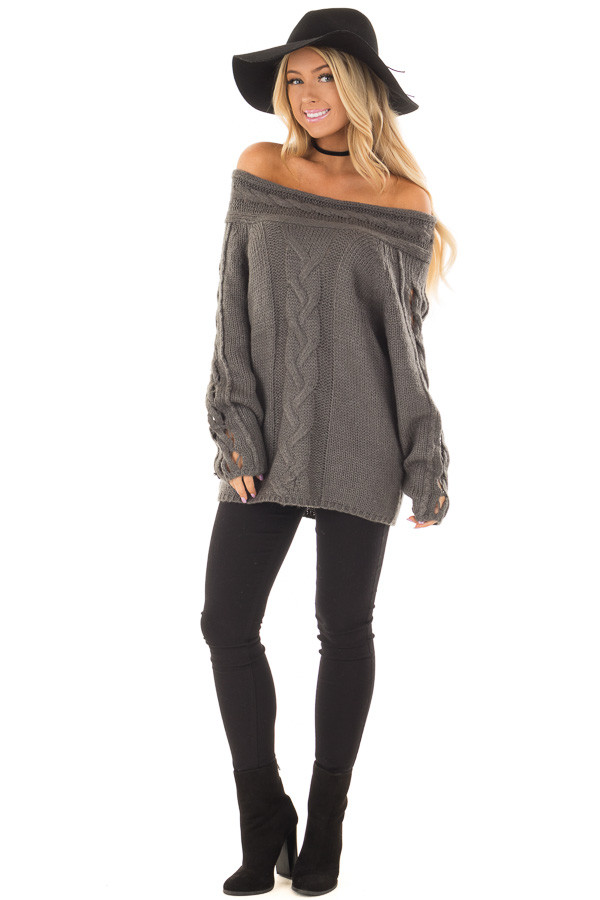 Charcoal Off the Shoulder Sweater with Sleeve Cutout Detail front full body