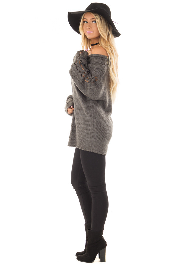 Charcoal Off the Shoulder Sweater with Sleeve Cutout Detail side full body