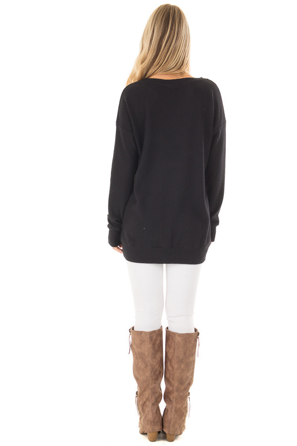 Black Waffle Knit Top with Neckline Details back full body