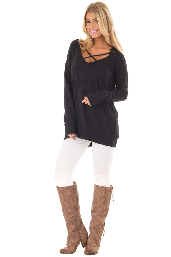Black Waffle Knit Top with Neckline Details front full body