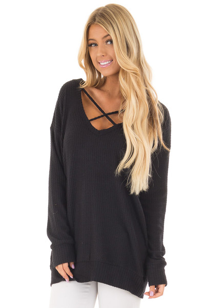 Black Waffle Knit Top with Neckline Details front close up
